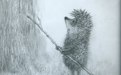 Ежик у дерева