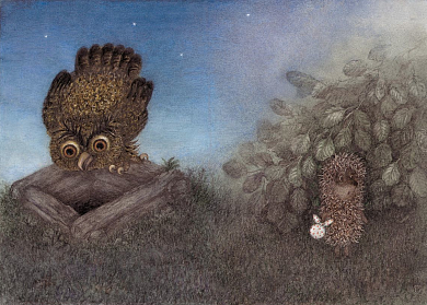 Hedgehog and owl on the well