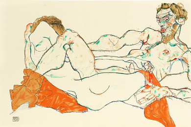 Reclining Male and Female Figure